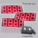 12 Inch Digits - LED Gas Sign Package - 3 Red  8888 Digital Price Gasoline LED SIGNS - Complete Package w/ RF Remote Control