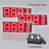 12 Inch Digits - LED Gas Sign Package - 3 Red  88889 Digital Price Gasoline LED SIGNS - Complete Package w/ RF Remote Control